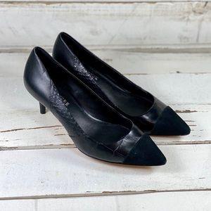 Coach Mixed Leather Kitten Heels